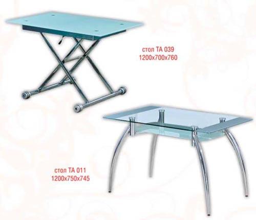 столик из стекла и металла