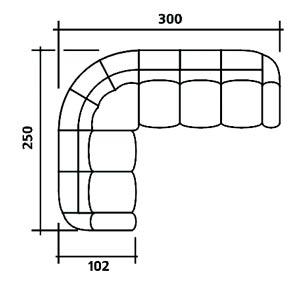 Габариты углового дивана (схема)