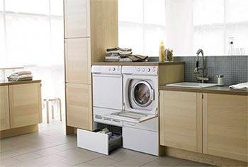 стиральная машина вписывается в интерьер кухни